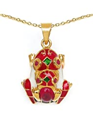 6.80 Grams Red Synthetic Stone & Ruby Gold Plated .925 Sterling Silver Red, White & Green Enamel Frog Shape Pendant...