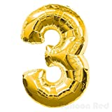 30 Inch Foil Mylar Balloons for Wall Decoration (Premium Quality), Glossy Gold, Number 3