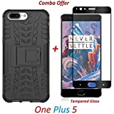 RidivishN OnePlus 5 / One Plus 5 / One Plus Five (COMBO OFFER) Original Hybrid Armor Design Detachable And Stand-up Feature Dual Layer Protective Shell Hard Back Cover Case ( Black ) + 2.5D Curved 3D Edge To Edge Full Screen Tempered Glass Mobile Screen P
