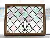 アンティーク ステンドグラス 英国 イギリス製 パープル・グリーン ダイヤ・葉柄 ビンテージ 窓 扉 ドア 装飾