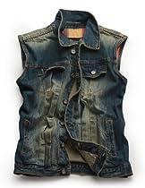 Match Mens Blue Cowboy Denim Waistcoat Vest #G0306 (XL (US Large)- Chest 42-44in (107-112cm))