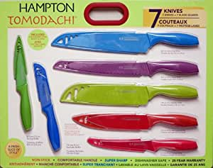 Hampton Forge Tomodachi 7-Piece Colorful Kitchen Knife Set with Blade Guards