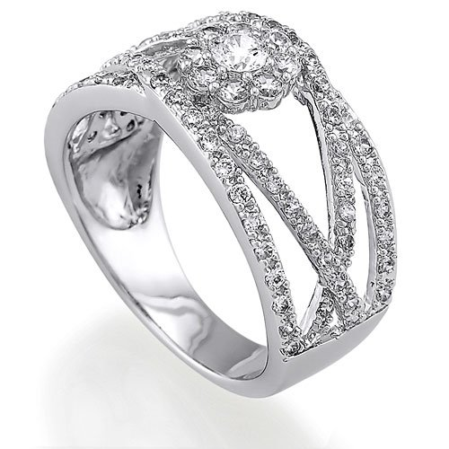 Sterling Silver Round Cubic Zirconia CZ Accent Ring - Women's Engagement Wedding Ring Size 6
