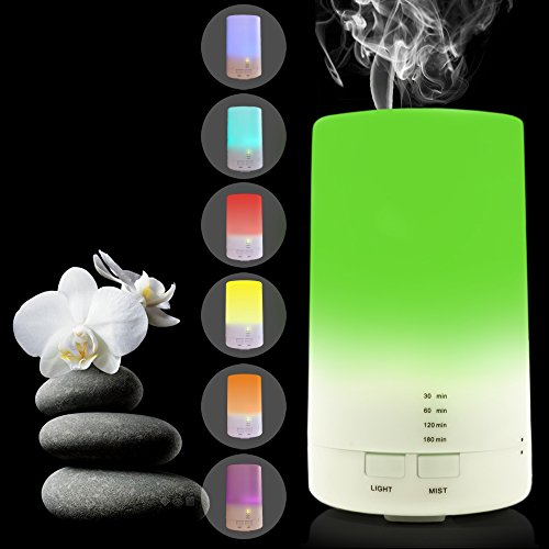 USB Aromatherapy Essential Oil Diffuser - 2.3 oz (70ml) Car Portable Mini Ultrasonic Cool Mist Aroma Air Humidifier - Office Desk Home Travel Gym Yoga Baby Room Bedroom - 7 Color LED Lights and Timer (Now Aroma Therapy Difuser compare prices)