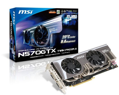 MSI N570GTX TWIN FROZR II/OC nVidia GeForce GTX570 Twin Frozr II OC 1280MB DDR5 PCI-Express Video Card