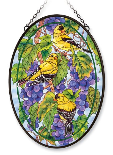 Amia Window Décor Panel Features a Goldfinch and Grapevine Scene,12.5-Inch Width by 17.5-Inch Height, Handpainted Glass 0