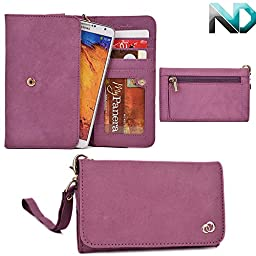 Imperial Purple Genuine Leather Womens Wristlet Clutch Intex Cloud Z5 with Credit Card Holder & NextDIA Cable Tie