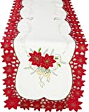 Xia Home Fashions 15 by 72-Inch Celebration Holiday Embroidered Cutwork Christmas Table Runner