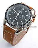 20mm Double Thickness Cut Edge CS Saddle Brown Leather Watch strap Fits Omega Speedmaster Moon watch.