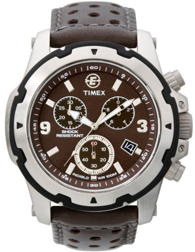 Timex Men'S T49627 Expedition Chronograph Brown Leather Strap Watch