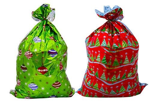Christmas Giant Metallic Gift Sack Bag (Pack of 2) 31x 47.5 - Great for Large, Bulky or Unusual Shaped Presents (Red and Green)