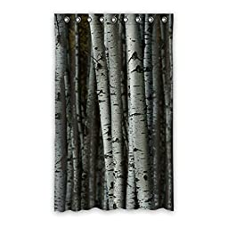QYOU Birch Tree Blackout Curtain Polyester 52\