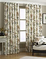 """Cruz Brown Cream 46"""" X 72"""" Floral Lined Ring Top Curtains #epolenep *riv* by PCJ Supplies"""