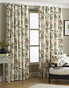"Cruz Brown Cream 46"" X 54"" Floral Lined Ring Top Curtains #epolenep *riv* by PCJ Supplies"