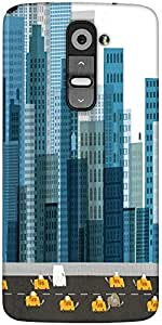 Snoogg Busy City Street 2600 Designer Protective Back Case Cover For LG G2