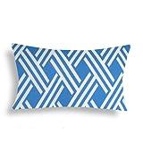 Domusworks Geo Lumbar Pillow, Pool Blue