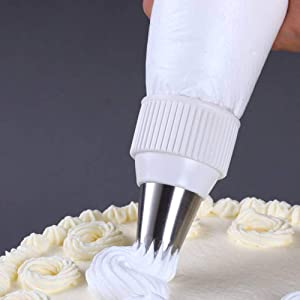 30 Pack Plastic Standard Couplers Cake Decorating for Icing Nozzles, Piping Bags, White