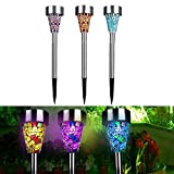 3PCS Solar Lawn Light Mosaic Garden LED Light Stainless Steel Outdoor Lawn Landscape Lamp