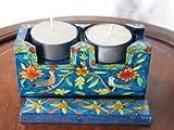 Shabbat Hand Painted Wooden Travel Candlesticks 'Birds' From Yair Emanuel