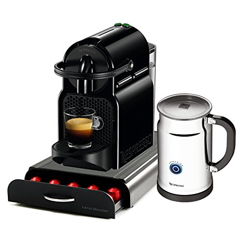 Nespresso Original Line Inissia D40 Black Espresso Maker Bundle with Aeroccino Plus Milk Frother and