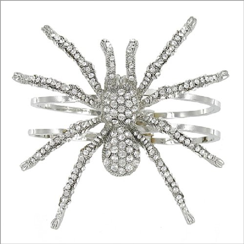 Crystal Stone Spider Hinged Bracelet #041718
