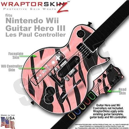 Zebra Skin Stripes Pink Skin by WraptorSkinz TM fits Nintendo Wii Guitar Hero III (3) Les Paul Controller (GUITAR NOT INCLUDED)