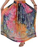 WOMEN NEW HAND SEWN PAINTED MAXI GYPSY BOHEMIAN ELASTIC SEQUINS FULL LENGTH