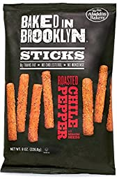Baked in Brooklyn Breadsticks, Roasted Chili Pepper, 8oz. Bags (Pack of 12)