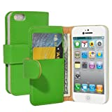TeckNet® Apple iPhone 5S / 5 Book Style Genuine Leather Case For New Apple iPhone 5S & 5 - Green