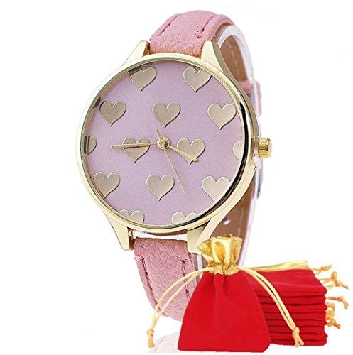 NdB 1311 - [CUORE ROSA] Orologio Donna da Polso - Con cinturino regolabile a 6 fori - Quarzo - In Sacchetto vellutato Rosso e Oro - Regalo perfetto