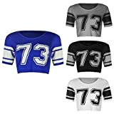 WOMENS LADIES SHORT SLEEVE 73 PRINT STRIPED VARSITY CROP TSHIRT TOP