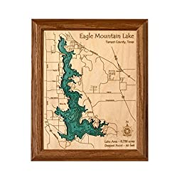 Allegheny Reservoir in Cattaraugus Warren PA, NY - 2D Map 8 x 10 IN - Laser carved wood nautical chart and topographic depth map.
