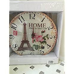 Exquisite Floral Designed Pexiglass Wall Clock 6 Inch Round, Shabby Chic, Great French Look Wall Clock