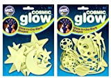 The Original Glowstars Company Cosmic Glow Moon, Stars and Galaxy (Pack of 2)