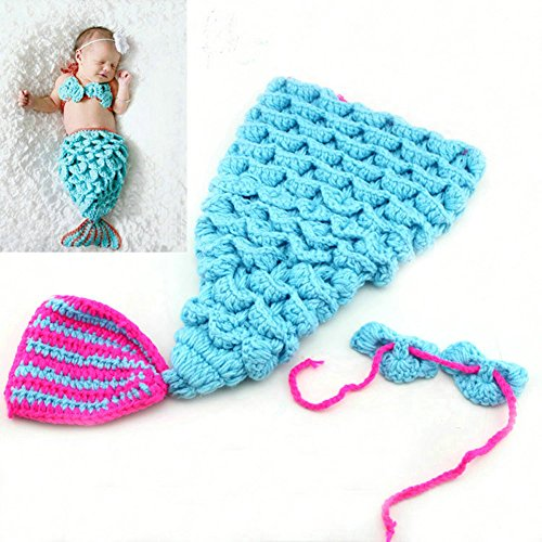 LifeJoy Mermaid Baby Infant Newborn Handmade Crochet Clothes Photograph Props (Blue)