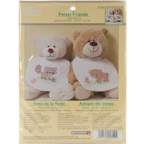 Bucilla Stamped Cross Stitch Kit, Forest Friends Bib Pair, 9-Inch By 14-Inch front-1012706