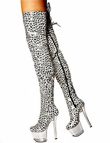 17cm bianco leopard scarpe con tacco alto stivali con / Sexy stivali ginocchio / ultra high heel scarpe donna / Moda Stampa animale,Leopard,US8 / EU39 / UK6 / CN39