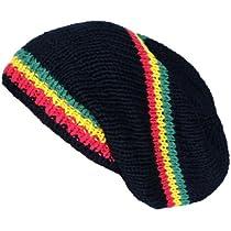 Asian Idyllica Rasta Stripe Handmade Crochet Beanie One Size Black