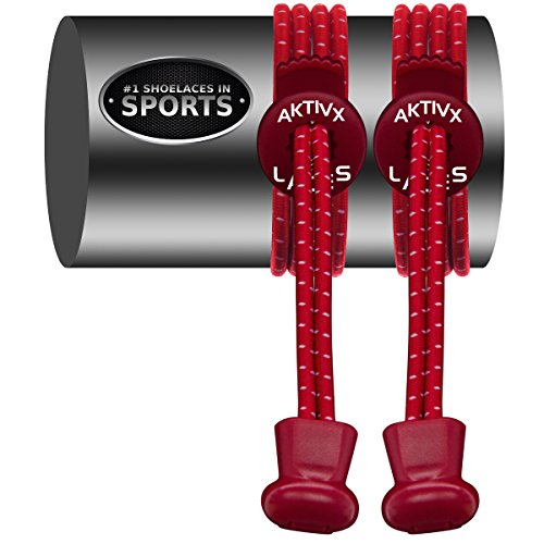 AKTIVX SPORTS LACES - No Tie Shoelaces that Lock - Replacement Elastic Shoelaces, Athletic Laces for Running Gear Accessories, Mens Womens or Kids Shoes, Fitness Exercise Equipment (Red) (Lock Laces Red compare prices)