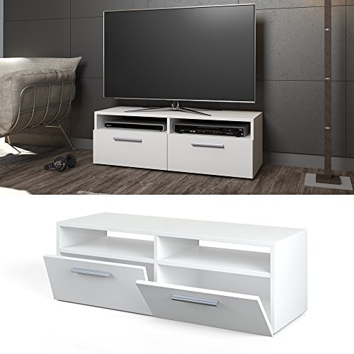 tv lowboard board schrank fernsehtisch sideboard regal rack wei hochglanz com forafrica. Black Bedroom Furniture Sets. Home Design Ideas