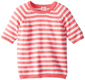 Egg by Susan Lazar Little Girls' Knit 3/4 Sleeve Sweater, Magenta Stripe, 2T