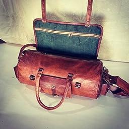 Skhl Leather Handmade Travel Luggage Vintage Overnight Weekend Gym Duffel Bag