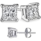 Cubic Zirconia Princess Cut 925 Sterling Silver Stud Earrings. Choose From 10 Cubic Zirconia Weights