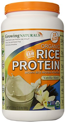 Growing Naturals Organic Rice Protein Powder, Vanilla, 930 Gram
