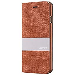 iPhone 6Splus Case, Aroko [Top-Notch Series] Premium Linen Wallet Case Protective Cover for Apple iPhone 6Plus/6SPlus Case (6plus/6sPlus 5.5inch, Brown)