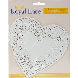 "Paper Doilies 6"" Heart 18/Pkg-White"