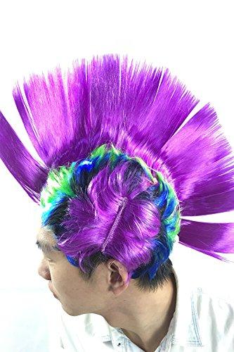 [MERRYCOCO LED Light Up Rainbow Mohawk Comb Hair Punk Wig For Halloween] (Mohawk Halloween Costumes)