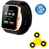 Samsung Galaxy C9 Pro Compatible Certified Bluetooth Smart Watch GT08 Wrist Watch Phone With Camera & SIM Card Support With Little Hood Fidget Spinner Stress Focus Toy, (Multi Color) (1 Year Warranty)