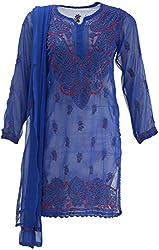 AKS Lucknow Women's Regular Fit Kurti (TK-17_42, BLUE, 42)