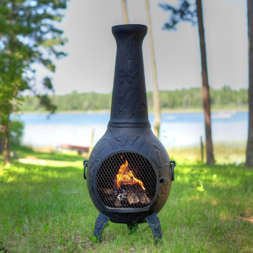 The-Blue-Rooster-Butterfly-Chiminea-in-Charcoal
